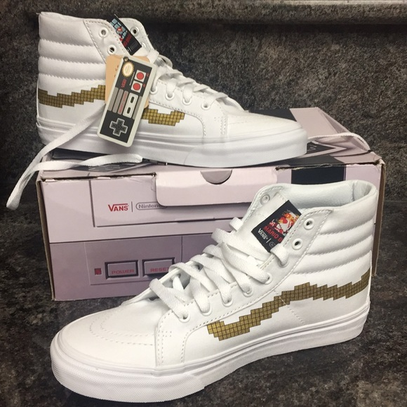 9bb25b2fd0 Vans SK8-HI Top Slim Nintendo Console Gold Shoes